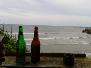 Cold beer by the ocean